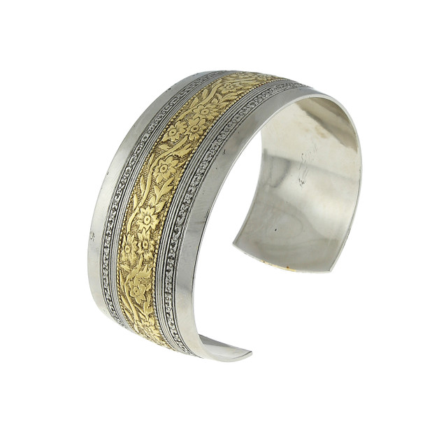 Silver-Tone and Gold Dipped Floral Cuff Bracelet~62208