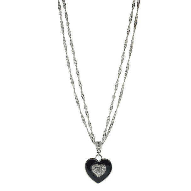 "16"" Adjustable Silver-Tone Black Enamel and Swarovski Crystal Heart Necklace~41943"
