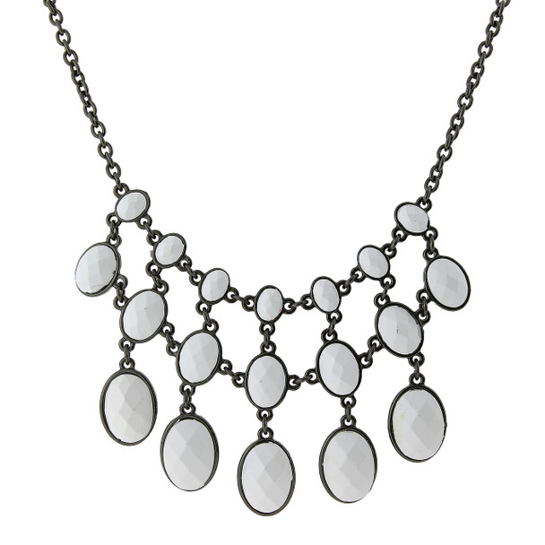 """16"""" Adjustable Black-Tone White Opaque Faceted Bib Necklace~45458"""