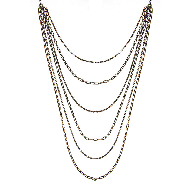 """16"""" Adjustable Black/Gold-Tone 6-Strand Layered Chain Necklace~48932"""