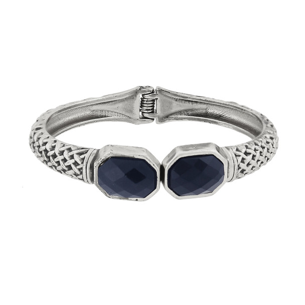 Antiqued Silver-Tone Textured Cuff Bracelet with Faceted Blue Stones~62590