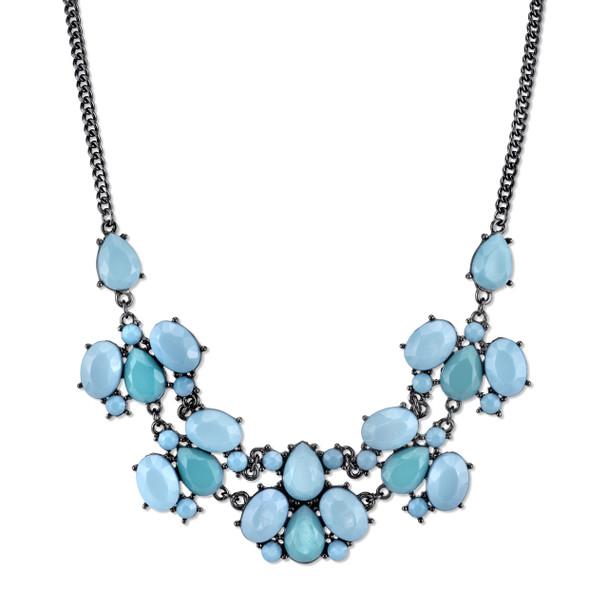 "16"" Adjustable Black-Tone Turquoise Collar Necklace~44052"