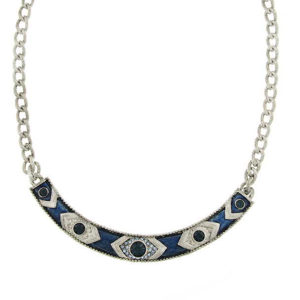 "16"" Adjustable Silver-Tone Blue Crystal and Blue Enamel Collar Necklace~48805"