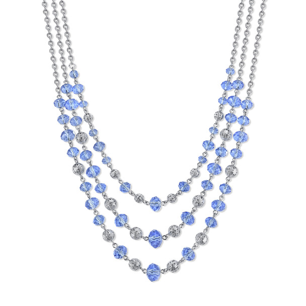 "16"" Adjustable Silver-Tone Light Sapphire Blue Beaded 3-Strand Necklace~49113"