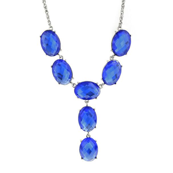 "15"" Adjustable Silver-Tone Blue Oval Faceted Y-Neck Drop Necklace~49249"