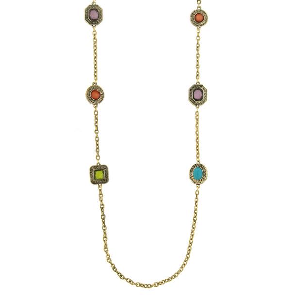 "36"" Long Gold-Tone Multi-Color Stone Necklace~52481"