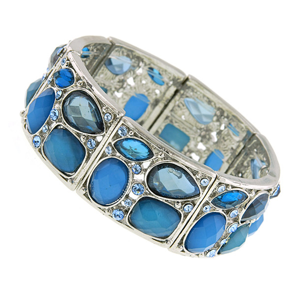 Silver-Tone Blue and Crystal Stretch Bracelet~61052