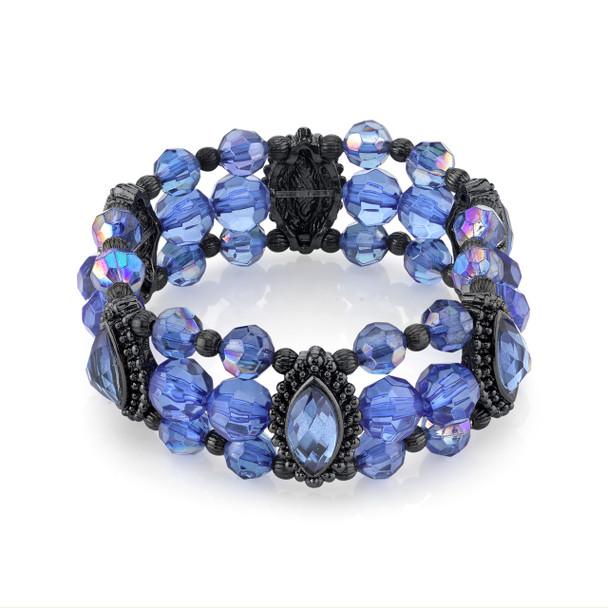 Black-Tone Sapphire Blue and AB Beaded Stretch Bracelet~61198
