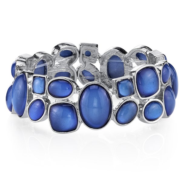 Silver-Tone Blue Stretch Bracelet~62148