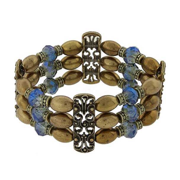 Burnished Brass Bronze and Blue AB Stretch Bracelet~63036