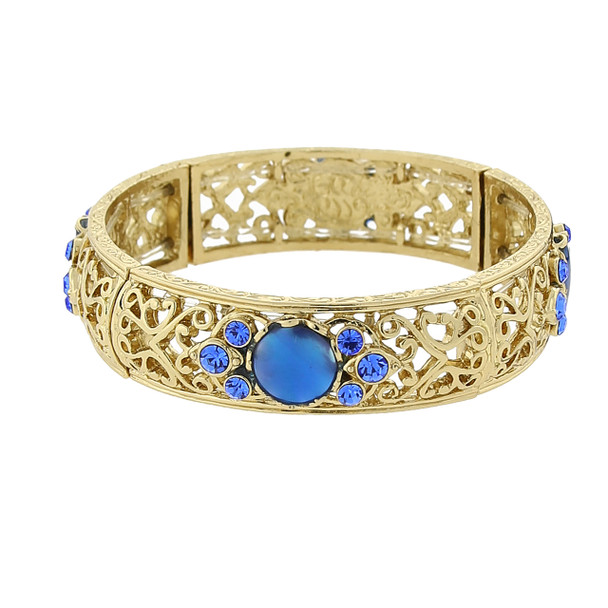 Gold-Tone Blue Genuine Mother of Pearl and Blue Crystal Accent Stretch Bracelet~63961