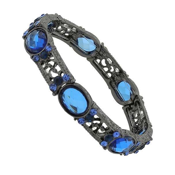 Black-Tone Blue and Light Sapphire Crystal Stretch Bracelet~64711