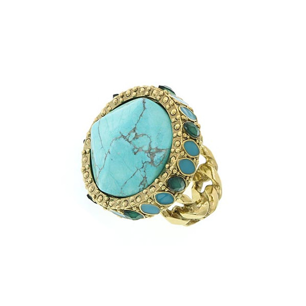 Gold-Tone Green and Turquoise Round Ring - Size 7~74496