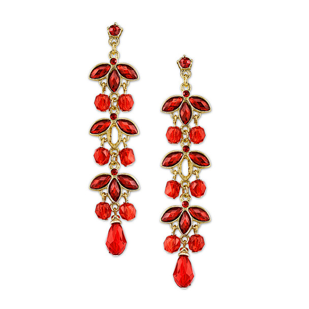 Gold-Tone Siam Red Navette Linear Drop Earrings~29513