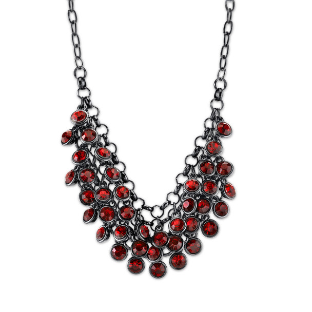 "16"" Adjustable Black-Tone Red Cluster Bib Necklace~45389"