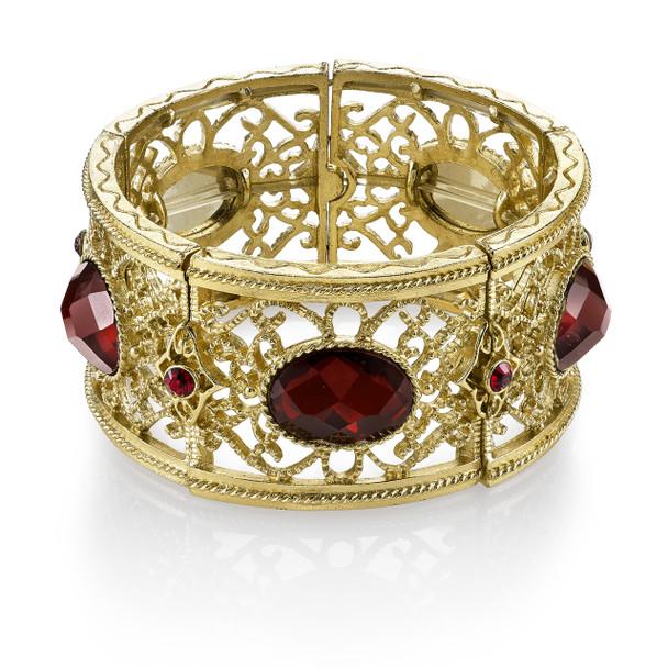 Gold-Tone Red Faceted Oval Filigree Stretch Bracelet~62376
