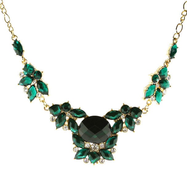 """16"""" Adjustable Gold-Tone Emerald Green Cluster Necklace~40050"""