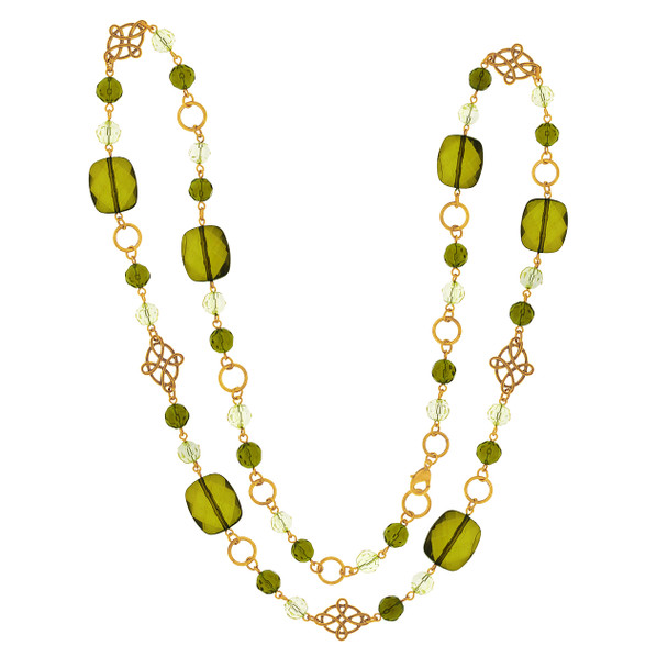 "42"" Long Gold-Tone Green Beaded Necklace~52592"