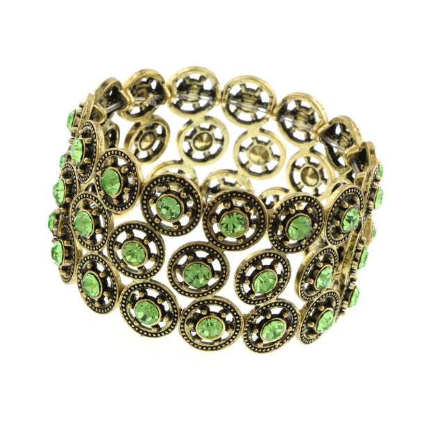 Gold-Tone Green Crystal Stretch Bracelet~61921