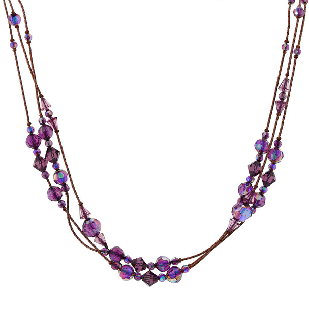 """16"""" Adjustable Burnished Copper and Amethyst Purple AB Beaded Strand Necklace~40420"""