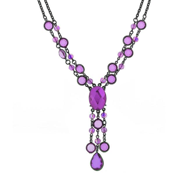 """16"""" Adjustable Black-Tone Purple AB Strand Y-Necklace~40817"""