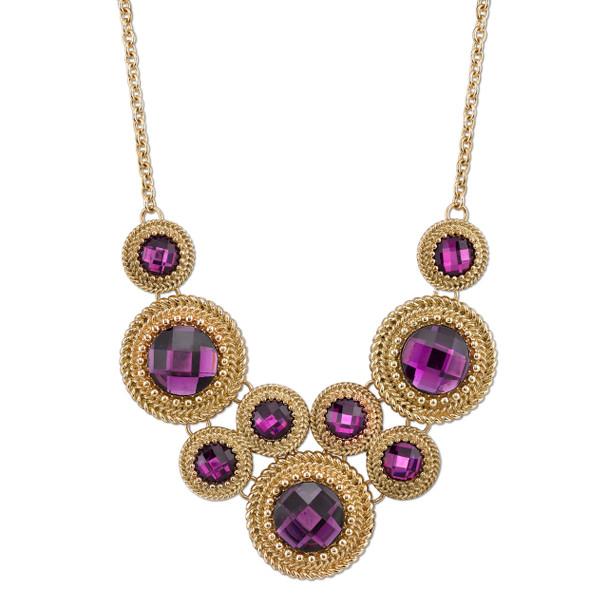 "16"" Adjustable Gold-Tone Purple Bib Necklace~40828"