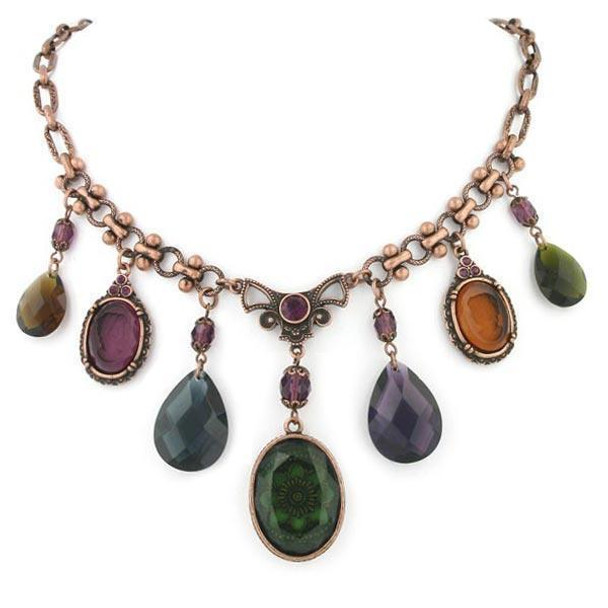 "16"" Adjustable Burnished Copper/Amy/Olivine Smoked Topaz Drop Necklace~42871"