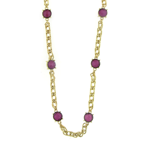 "36"" Gold-Tone Amethyst Purple Chain Necklace~52402"