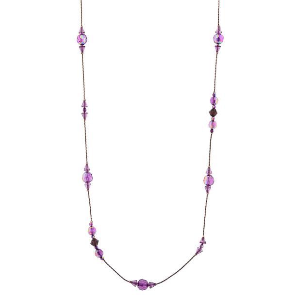 """42"""" Burnished Copper-Tone Amethyst Purple AB Long Beaded Necklace~52554"""
