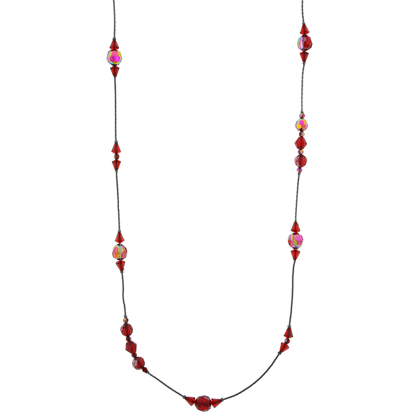 "42"" Long Jet-Tone Siam Red AB Beaded Necklace~52556"