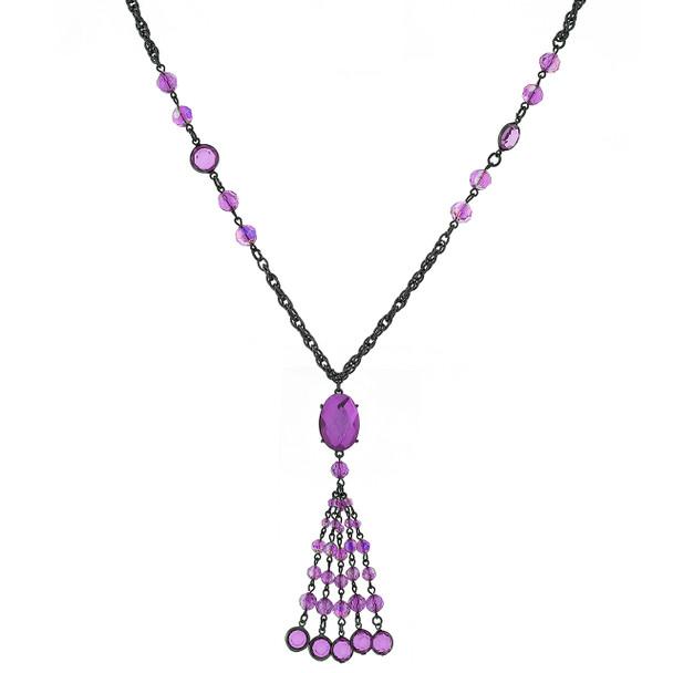 """26"""" Black-Tone Purple AB Tassel Necklace~52558"""