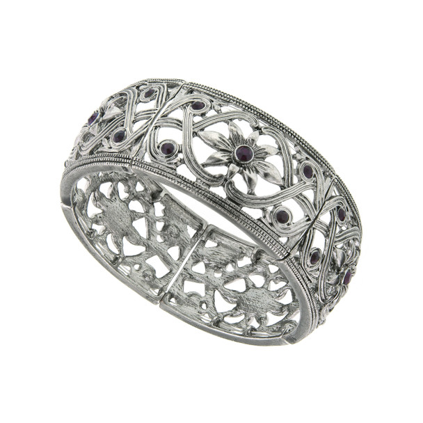 Silver-Tone Amethyst Flower Stretch Bracelet~61293