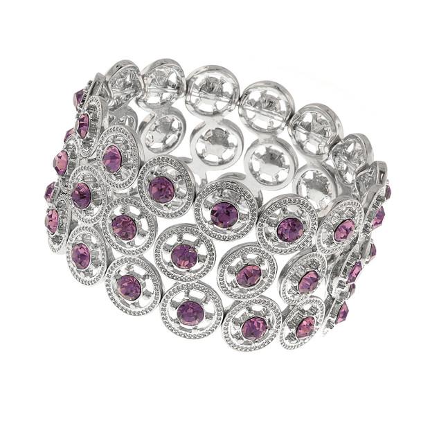 Silver-Tone Amethyst Crystal Stretch Bracelet~61925