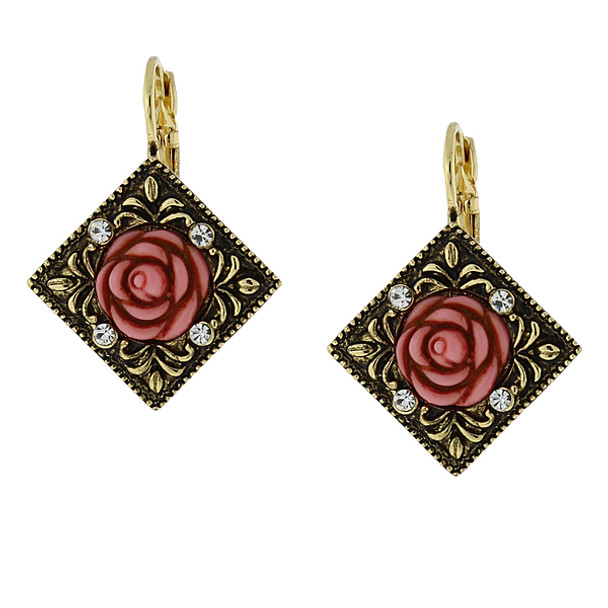 Gold-Tone Pink Carved Rose with Crystal Accents Diamond-Shape Drop Earrings~25697