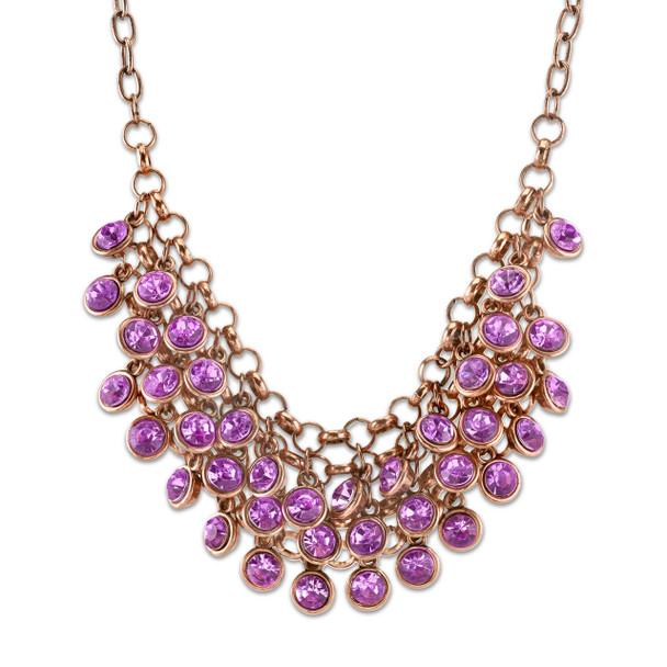 "16"" Adjustable Copper-Tone Light Amethyst Purple Cluster Bib Necklace~45399"