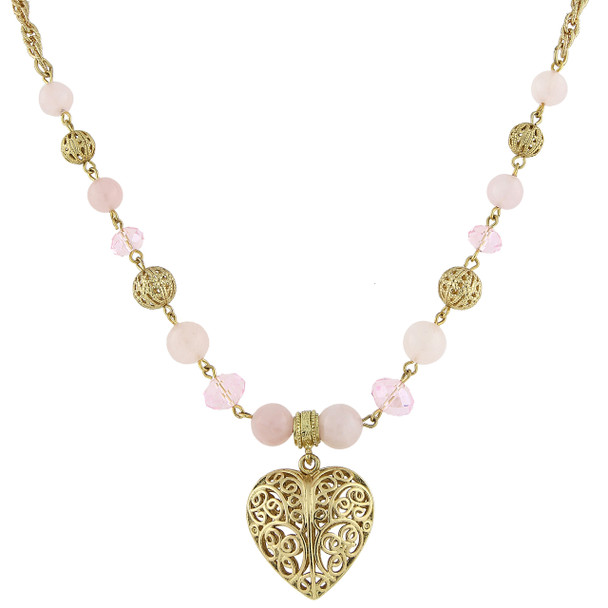 "16"" Adjustable Gold-Tone Semi-Precious Rose Quartz Filigree Heart Pendant Necklace~49515"