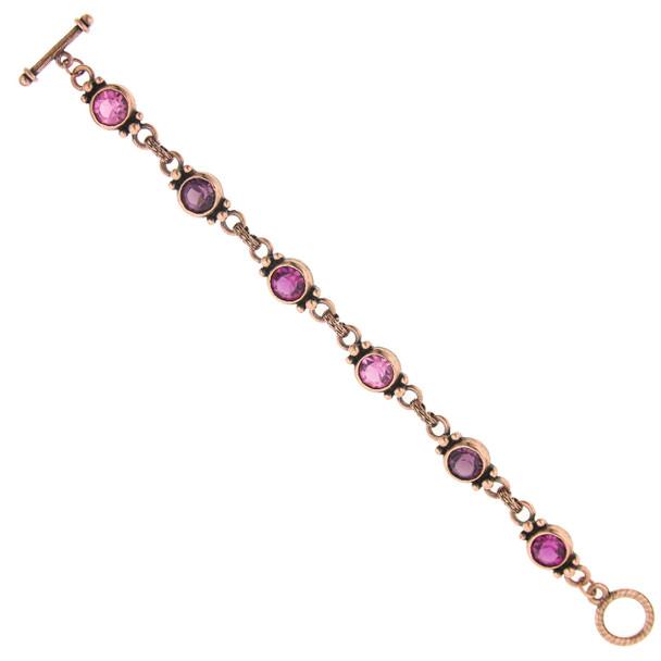 Copper/Rose/Fuchsia Toggle Bracelet~60037