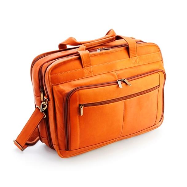 "Colombian Leather Expandable 15"" Laptop Briefcase~641-TAN-VL"