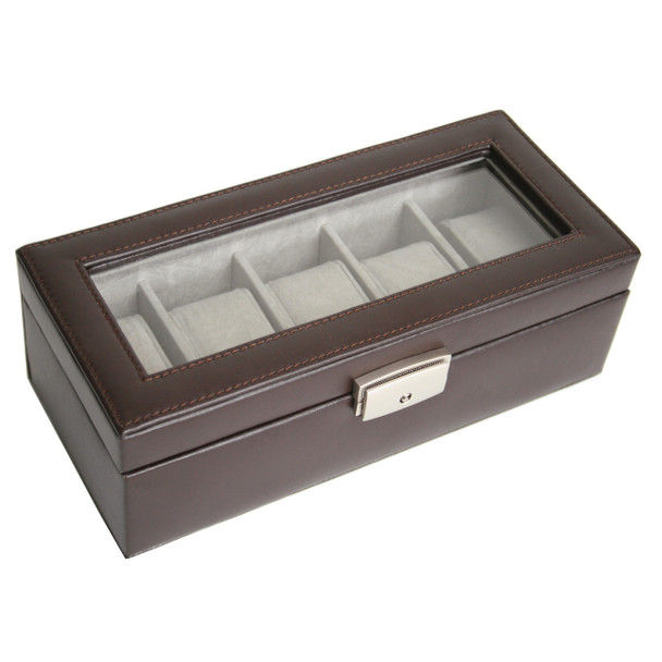 ROYCE Five Slot Watch Box Display Case in Genuine Leather~928-6