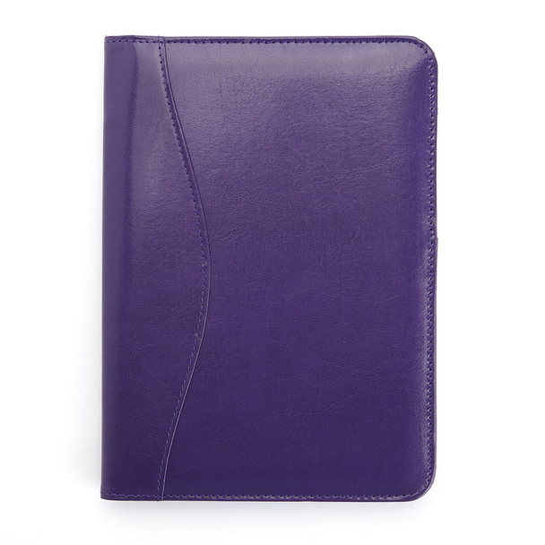 ROYCE Compact Writing Portfolio Organizer in Italian Aristo Leather~743-PLUM-AR