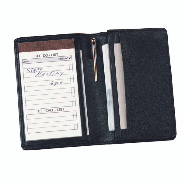 ROYCE Executive Note Jotter and Business Card Organizer in Genuine Leather~725-BLACK-5