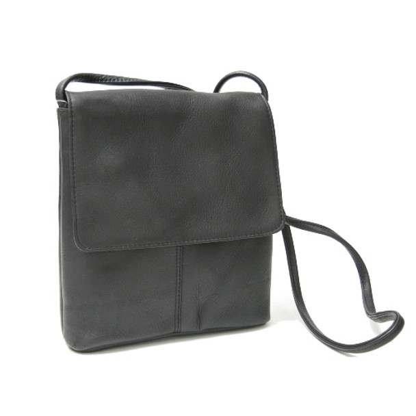 ROYCE Flap Over Crossbody Bag in Colombian Genuine Leather~VLFCB-BLK