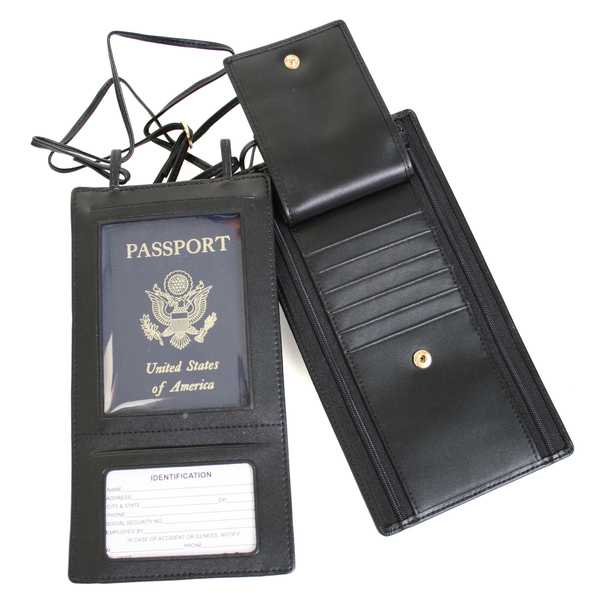 ROYCE Hanging Passport Travel Document Wallet in Genuine Leather~217-BLK-6