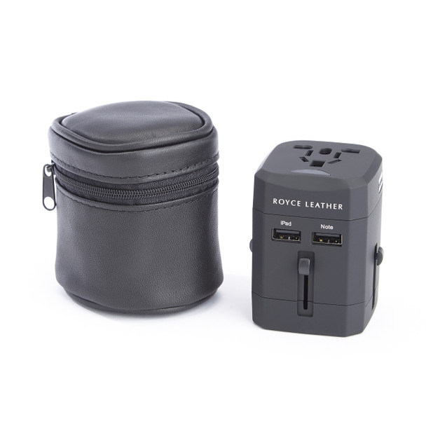 ROYCE International Travel Adapter in Genuine Leather Carrying Case~882-BLACK-5