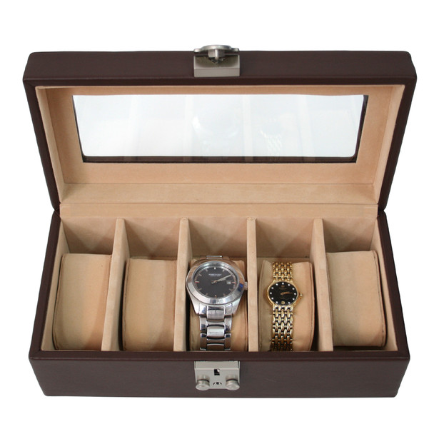 ROYCE Luxury Five Slot Watch Box Display Case Handcrafted in Genuine Leather~929-5