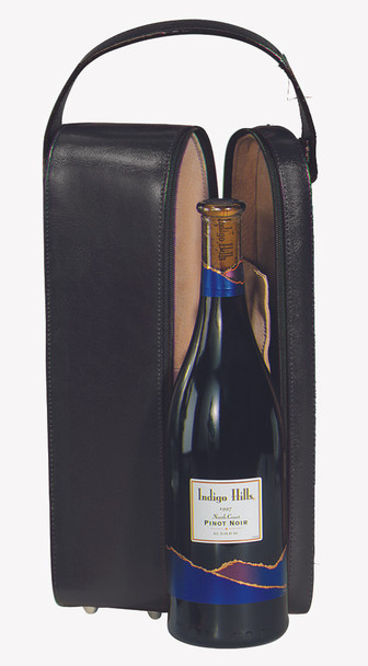 ROYCE Luxury Suede Lined Single Wine Carrying Case with Stainless Steel Corkscrew~621-BLACK-10