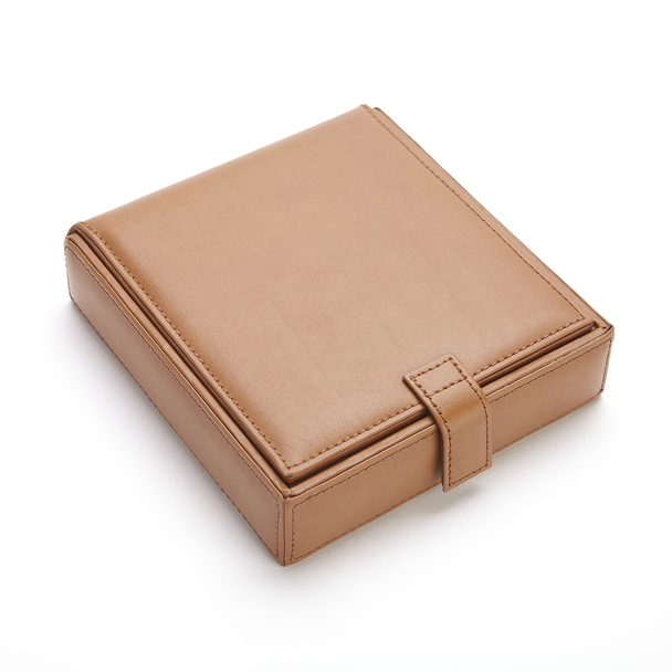 ROYCE Luxury Suede Lined Watch Cufflink Travel Case in Genuine Leather~927-8