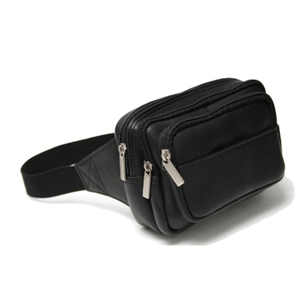 ROYCE Multi-Compartment Fanny Pack in Colombian Genuine Leather~VLFANP-BLK