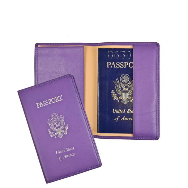 ROYCE Passport Holder and Travel Document Organizer in Genuine Leather~202-PURPLE-6