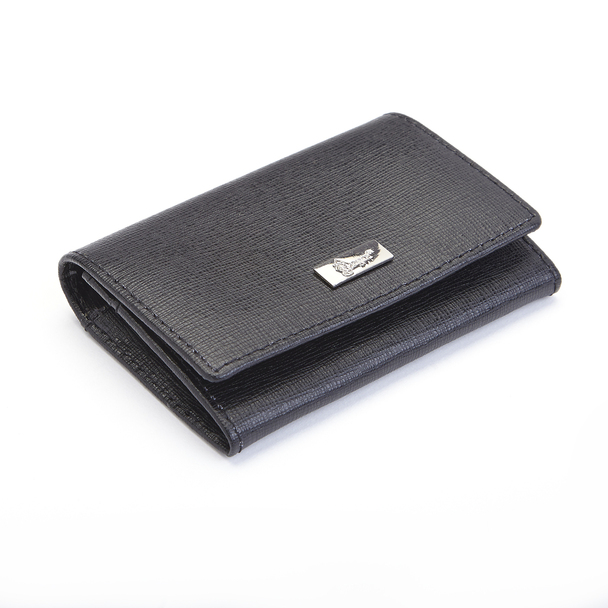 ROYCE RFID Blocking Business Card Case Wallet in Genuine Saffiano Leather~RFID-423-BLK-2